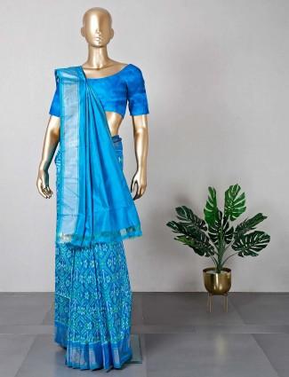 Patola silk saree for wedding in blue