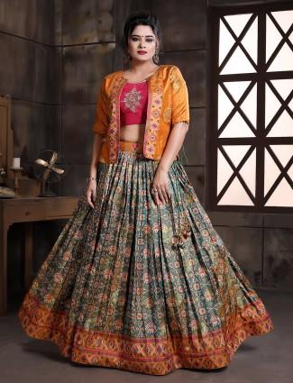 Patola silk green and orange wedding occasion lehenga choli