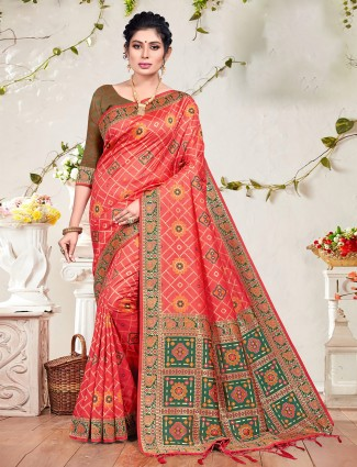 Patola silk wedding occasions pink saree for women