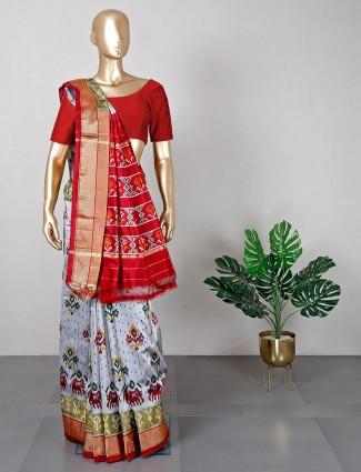 Patola silk wedding wear saree in grey