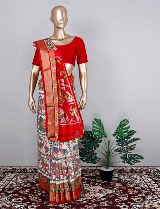 Patola silk white amazing wedding wear saree
