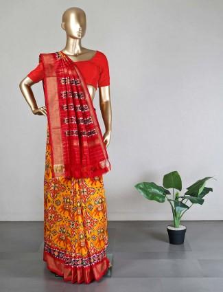 Patola silk yellow saree ideal for wedding