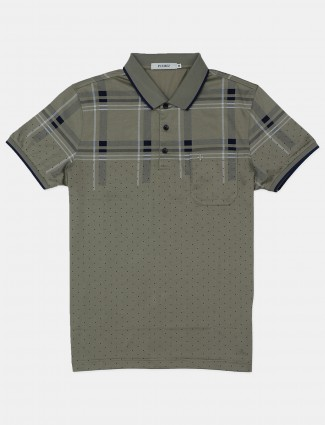 Pcubez casual wear printed olive cotton t-shirt