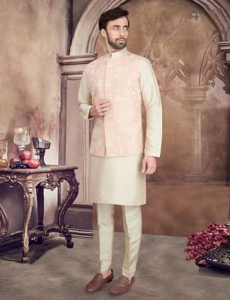 Peach and beige raw silk mens waistcoat set