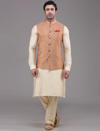 Peach and cream silk mens waistcoat set