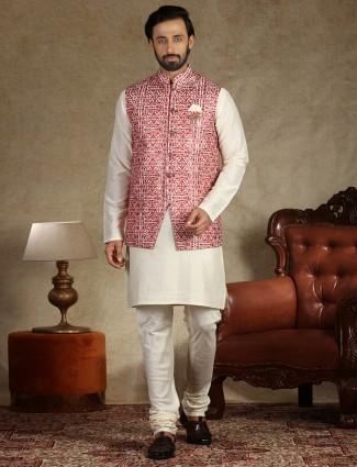 Peach and cream silk mens waistcoat set for wedding