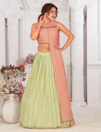 Peach and pista green georgette paryy wear lehenga choli