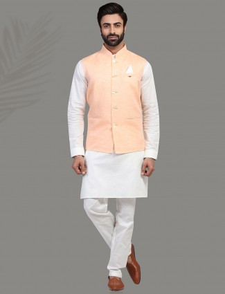 Peach and white linenwaistcoat set