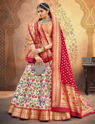 Peach and white semi stitched banarasi silk choli suit for wedding