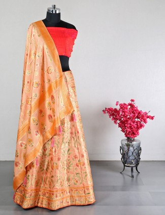 Peach banarasi silk wedding lehenga choli