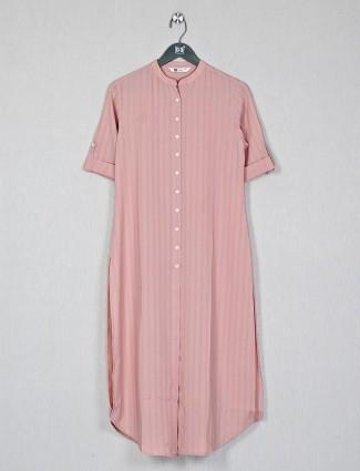 Peach casual kurti for women in cotton