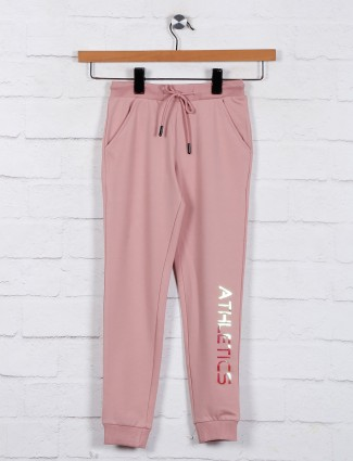Peach casual wear solid jeggings