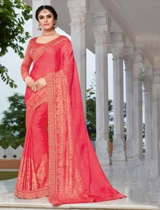 Peach chiffon saree with matching pallu