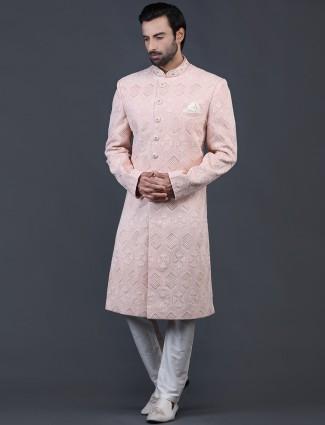 Peach chikan fabric sherwani for wedding occasions