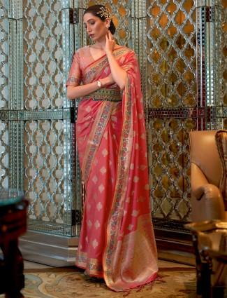 Peach color banarasi silk saree for wedding occasion