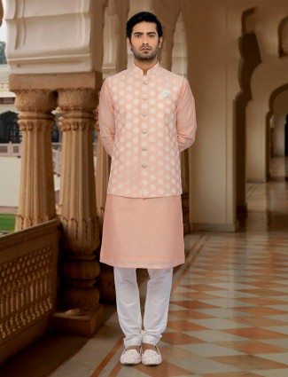 Peach color cotton silk waistcoat set