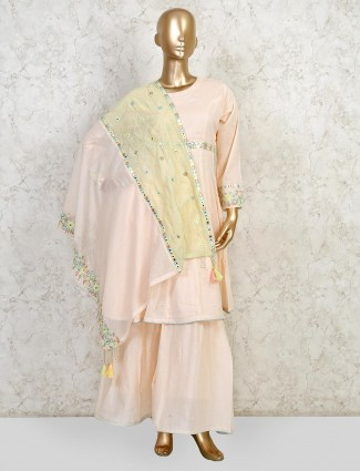 Peach colored sharara suit in cotton