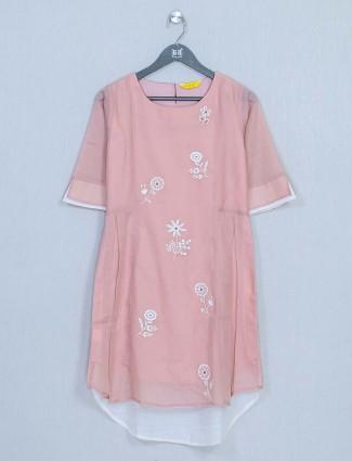 Peach colour cotton casual top