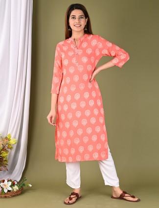 Peach cotton casual occasions printed kurti