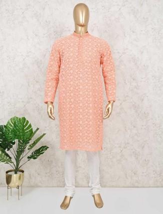 Peach cotton full sleeeves kurta suit