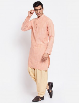 Peach cotton kurta suit for men in solid style