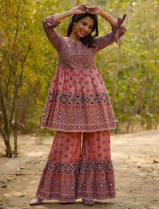 Peach cotton punjabi style printed festive wear sharara suit