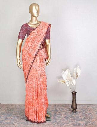Peach cotton sari for festive