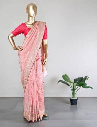 Peach cotton silk designer festive wear sari