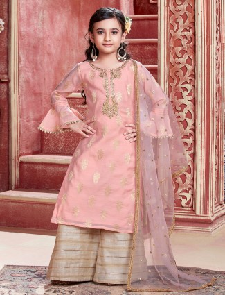 Peach cotton silk palazzo suit for girls