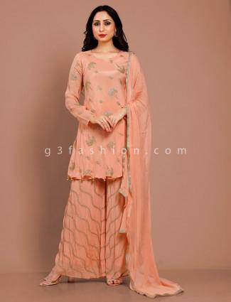 Peach cotton silk party function punjabi sharara suit