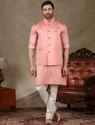 Peach cotton silk waistcoat set for men