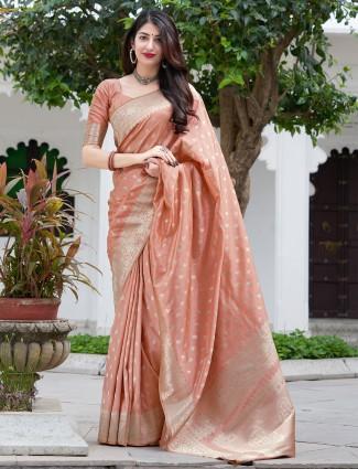 Peach fashionable saree in banarasi silk fabric for wedding