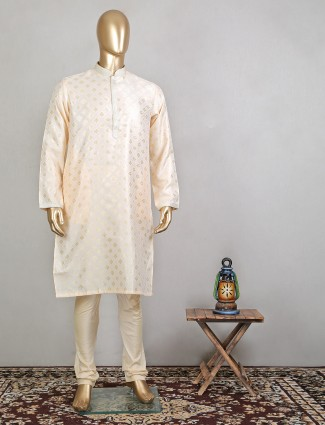 Peach festive wear raw silk kurta suit for mens