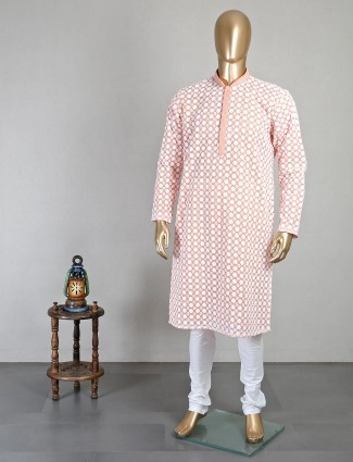 Peach georgette kurta suit with chikan thread work