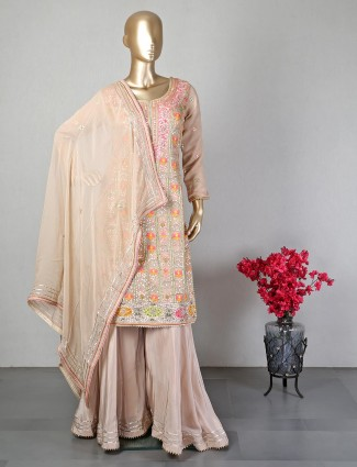 Peach georgette sharara salwar suit for wedding