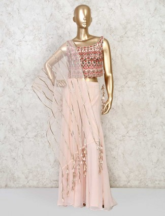 Peach georgette sharara suit for festive look
