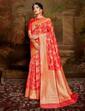 Peach handloom banarasi silk saree for wedding