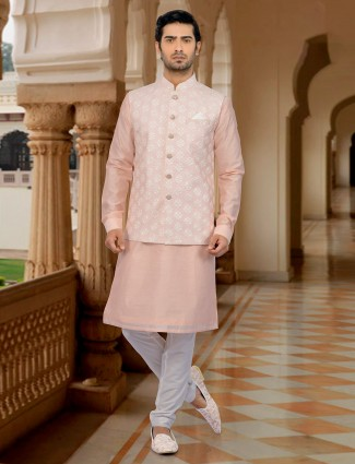 Peach hue cotton silk waistcoat set