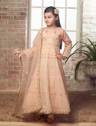 Peach hue designer wedding wear anarkali suit