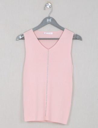 Peach kniteed casual wear top