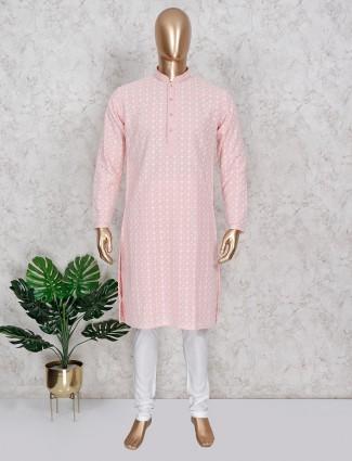 Peach kurta suit in festive wear