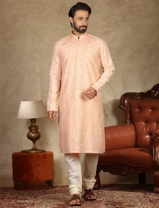Peach linen kurta suit festive wear