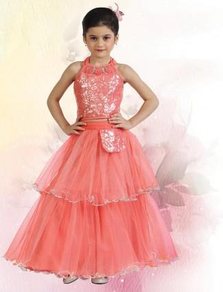 Peach net lehenga choli ideal for parties
