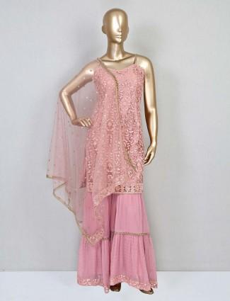 Peach net wedding wear sharara suit for women