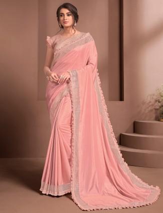Peach party occasions silk georgette saree