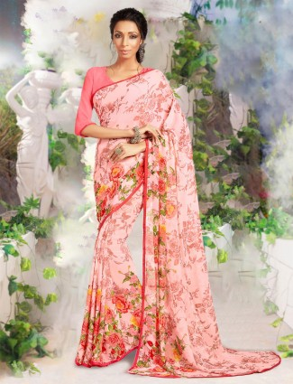 Peach prined saree in georgette for women