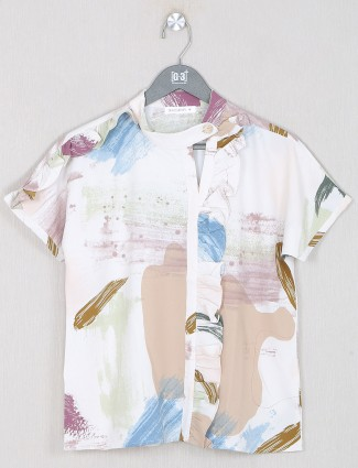 Peach printed casual wear top for women