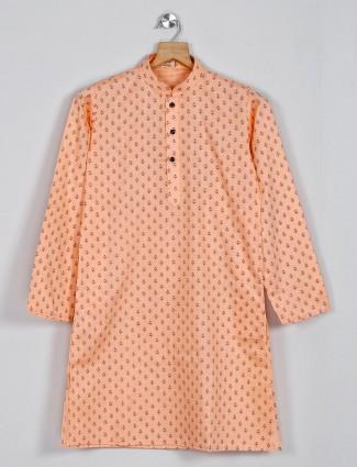 Peach printed cotton boys kurta suit