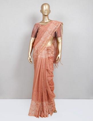 Peach printed cotton festive wear saree