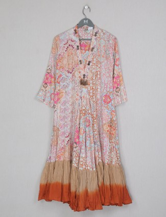 Peach printed cotton kurti for casual day outing